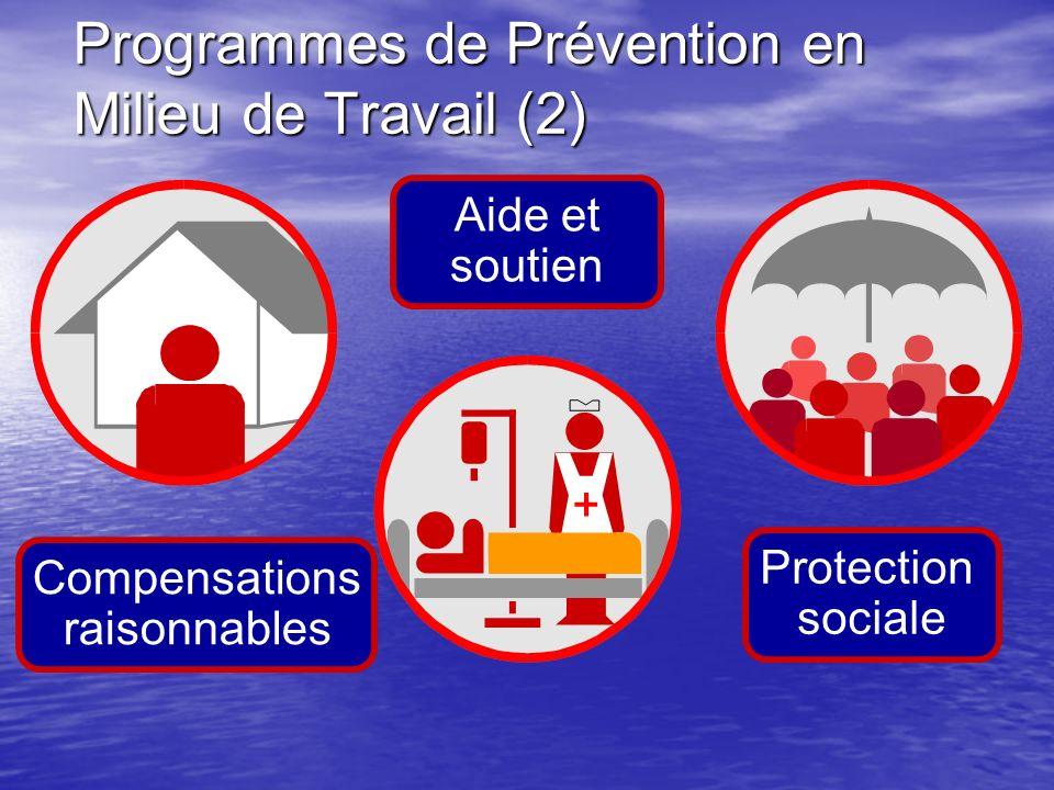 Programmes de Prévention en Milieu de Travail (2) Compensations raisonnables Aide et soutien Protection sociale