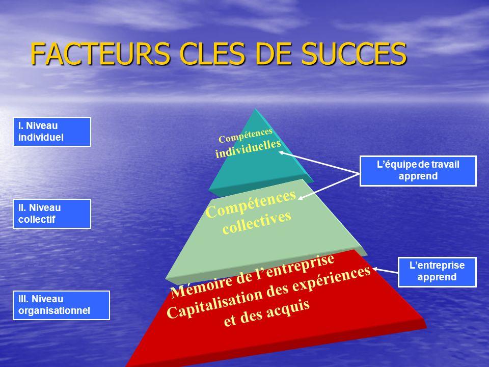 FACTEURS CLES DE SUCCES I. Niveau individuel II. Niveau collectif III. Niveau organisationnel Léquipe de travail apprend Lentreprise apprend Compétenc
