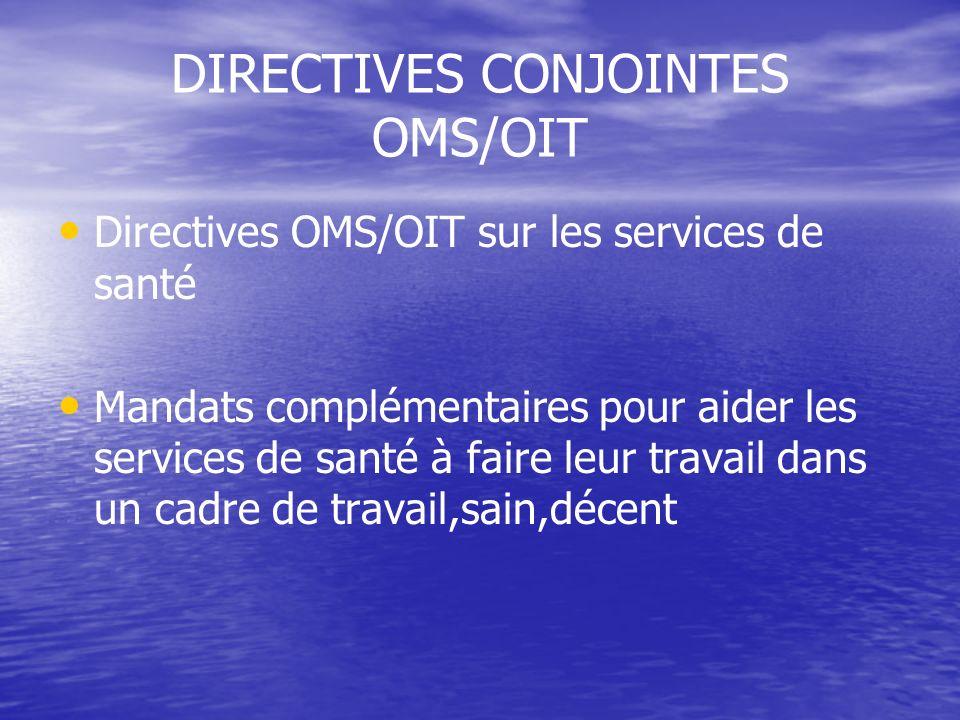 DIRECTIVES CONJOINTES OMS/OIT Directives OMS/OIT sur les services de santé Mandats complémentaires pour aider les services de santé à faire leur trava