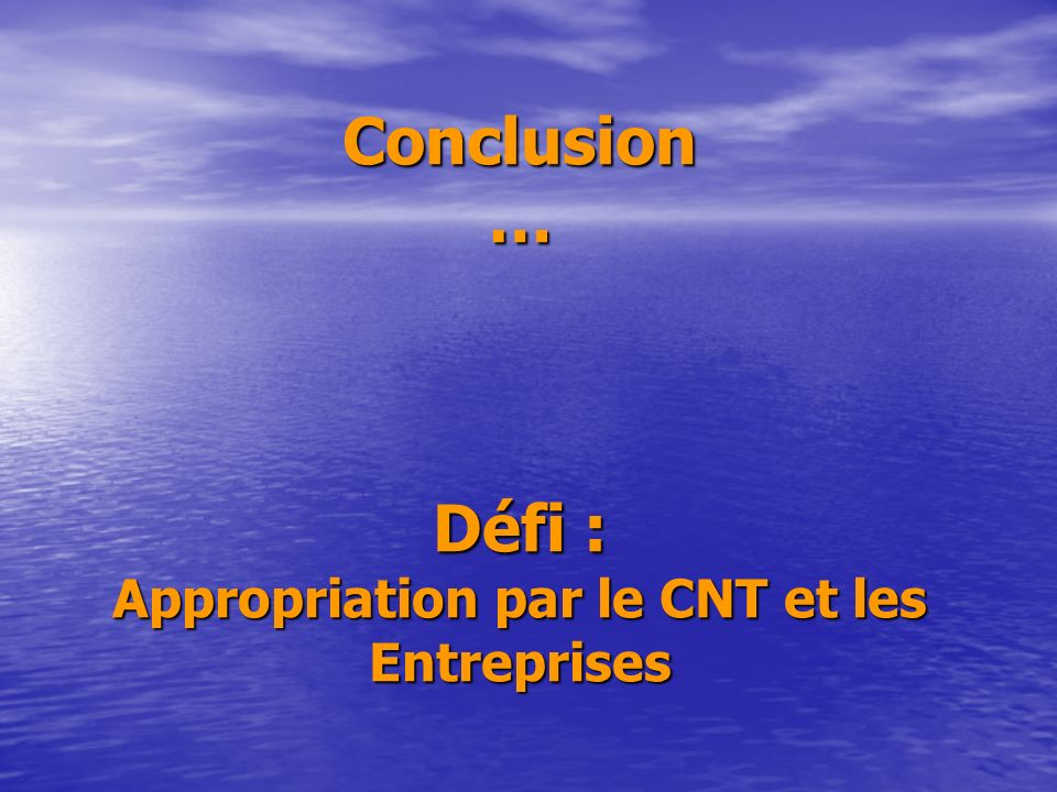 Conclusion … Défi : Appropriation par le CNT et les Entreprises