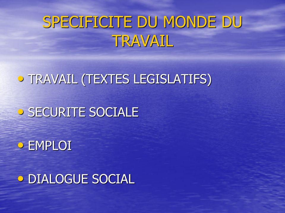 SPECIFICITE DU MONDE DU TRAVAIL TRAVAIL (TEXTES LEGISLATIFS) TRAVAIL (TEXTES LEGISLATIFS) SECURITE SOCIALE SECURITE SOCIALE EMPLOI EMPLOI DIALOGUE SOC