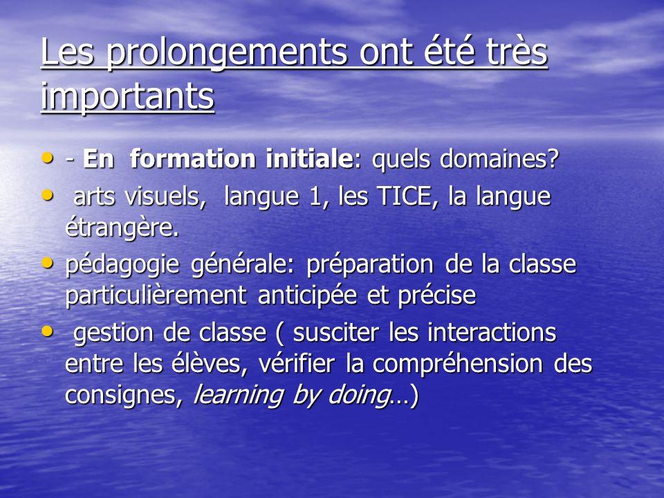 Les prolongements ont été très importants - En formation initiale: quels domaines? - En formation initiale: quels domaines? arts visuels, langue 1, le