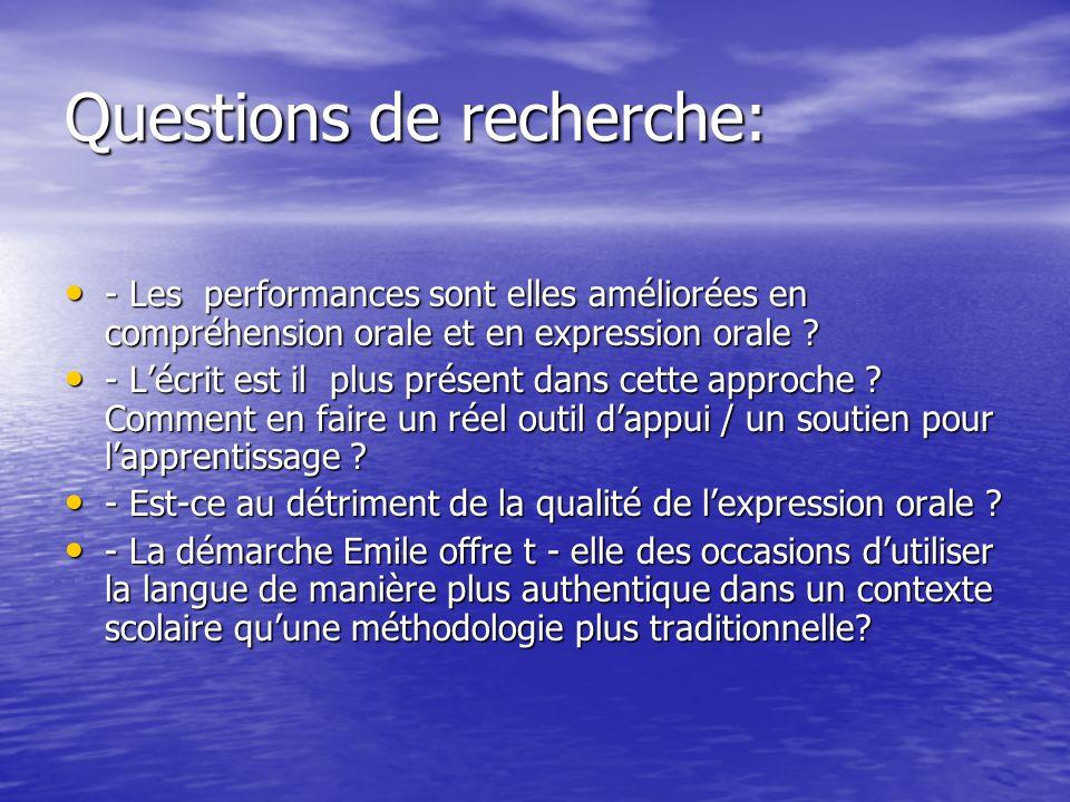 Questions de recherche: - Les performances sont elles améliorées en compréhension orale et en expression orale ? - Les performances sont elles amélior