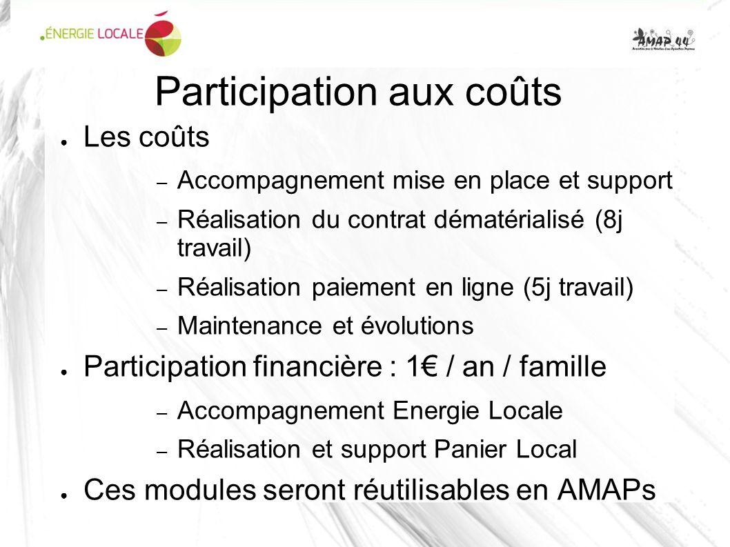 Participation aux coûts Les coûts – Accompagnement mise en place et support – Réalisation du contrat dématérialisé (8j travail) – Réalisation paiement