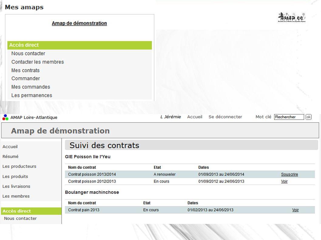 Également – Saisie du contrat type une fois – Planning prévisionnel livraisons – Montant du colis – Choix du nombre de colis – Archivage du contrat – Génération des commandes automatique