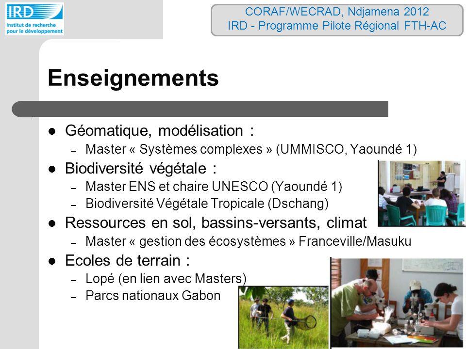 Enseignements Géomatique, modélisation : – Master « Systèmes complexes » (UMMISCO, Yaoundé 1) Biodiversité végétale : – Master ENS et chaire UNESCO (Y