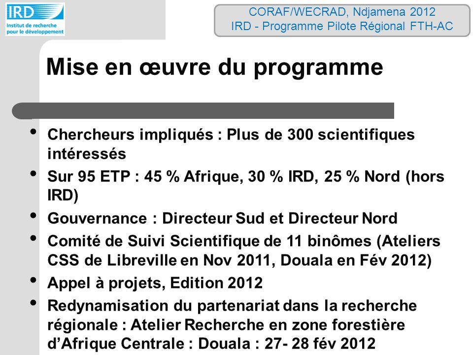 Chercheurs impliqués : Plus de 300 scientifiques intéressés Sur 95 ETP : 45 % Afrique, 30 % IRD, 25 % Nord (hors IRD) Gouvernance : Directeur Sud et D