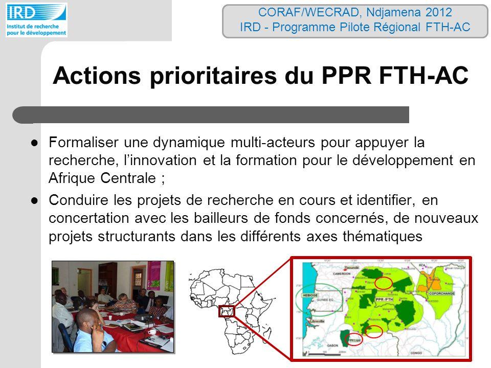 Actions prioritaires du PPR FTH-AC Formaliser une dynamique multi-acteurs pour appuyer la recherche, linnovation et la formation pour le développement