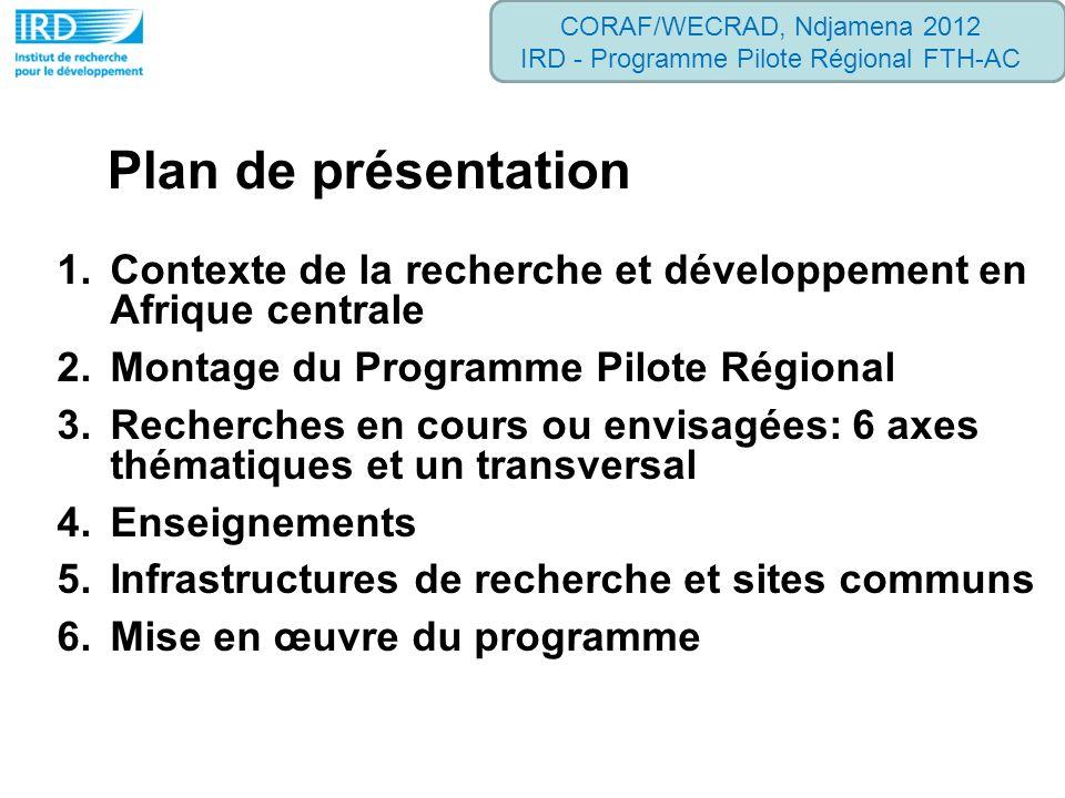 1.Contexte de la recherche et développement en Afrique centrale 2.Montage du Programme Pilote Régional 3.Recherches en cours ou envisagées: 6 axes thé