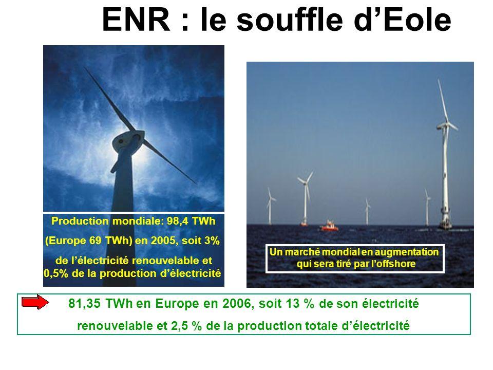 Un marché mondial en augmentation qui sera tiré par loffshore ENR : le souffle dEole Puissances unitaires : de 10 kW à 3 MW Production mondiale: 98,4 TWh (Europe 69 TWh) en 2005, soit 3% de lélectricité renouvelable et 0,5% de la production délectricité 81,35 TWh en Europe en 2006, soit 13 % de son électricité renouvelable et 2,5 % de la production totale délectricité