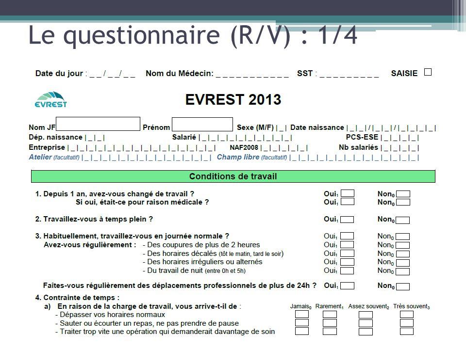 Le questionnaire (R/V) : 1/4