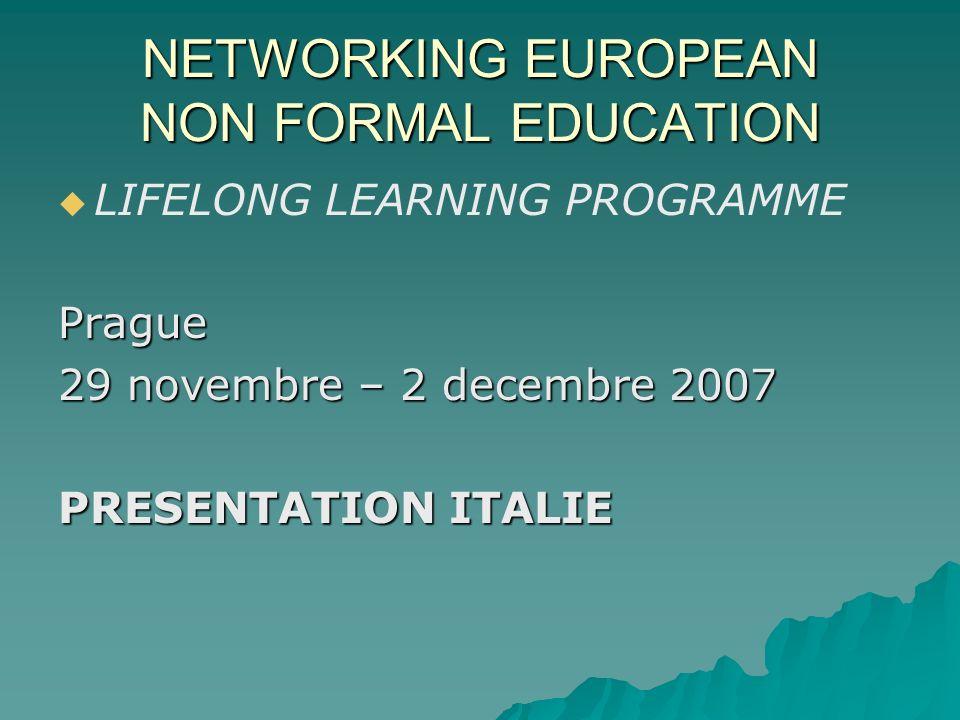 CONTEXTE – REALITÉ DE VOTRE PAYS Léducation non formelle en Italie propose un model qui est: Léducation non formelle en Italie propose un model qui est:COMPLEXE ( tissage dexpériences) PLURIEL (dacteurs, services) NON HOMOGENE (sur le plan géographique)