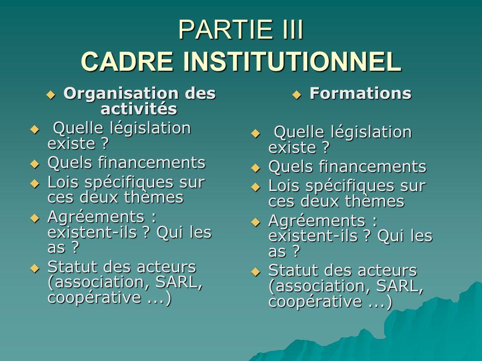 PARTIE III CADRE INSTITUTIONNEL Organisation des activités Organisation des activités Quelle législation existe ? Quelle législation existe ? Quels fi