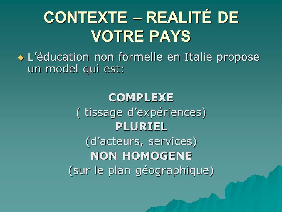 CONTEXTE – REALITÉ DE VOTRE PAYS Léducation non formelle en Italie propose un model qui est: Léducation non formelle en Italie propose un model qui es