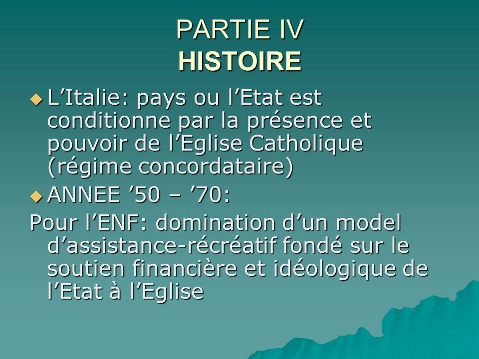 PARTIE IV HISTOIRE LItalie: pays ou lEtat est conditionne par la présence et pouvoir de lEglise Catholique (régime concordataire) LItalie: pays ou lEt