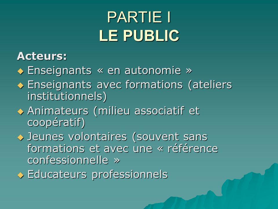 PARTIE I LE PUBLIC Acteurs: Enseignants « en autonomie » Enseignants « en autonomie » Enseignants avec formations (ateliers institutionnels) Enseignan