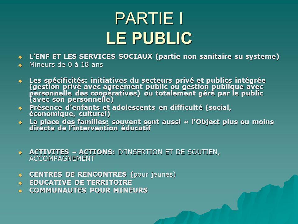 PARTIE I LE PUBLIC LENF ET LES SERVICES SOCIAUX (partie non sanitaire su systeme) LENF ET LES SERVICES SOCIAUX (partie non sanitaire su systeme) Mineu