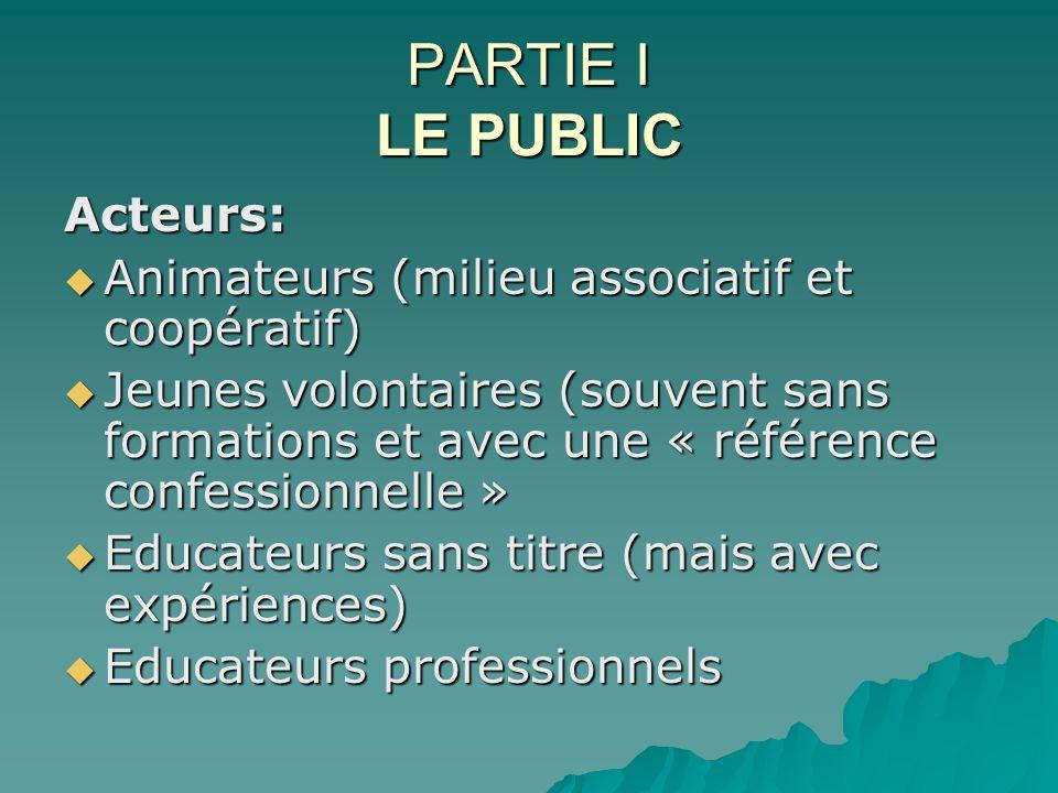 PARTIE I LE PUBLIC Acteurs: Animateurs (milieu associatif et coopératif) Animateurs (milieu associatif et coopératif) Jeunes volontaires (souvent sans