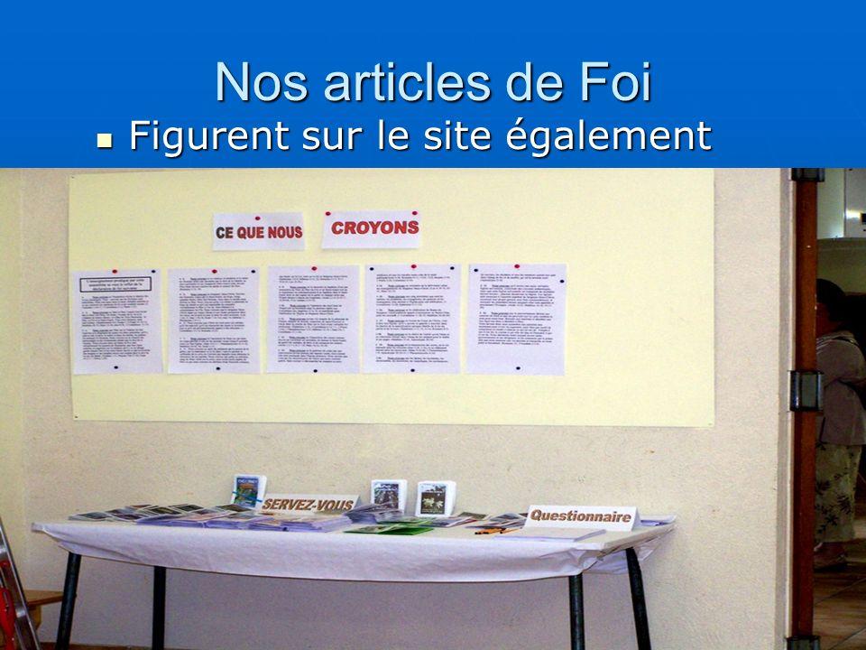 Nos articles de Foi Figurent sur le site également Figurent sur le site également