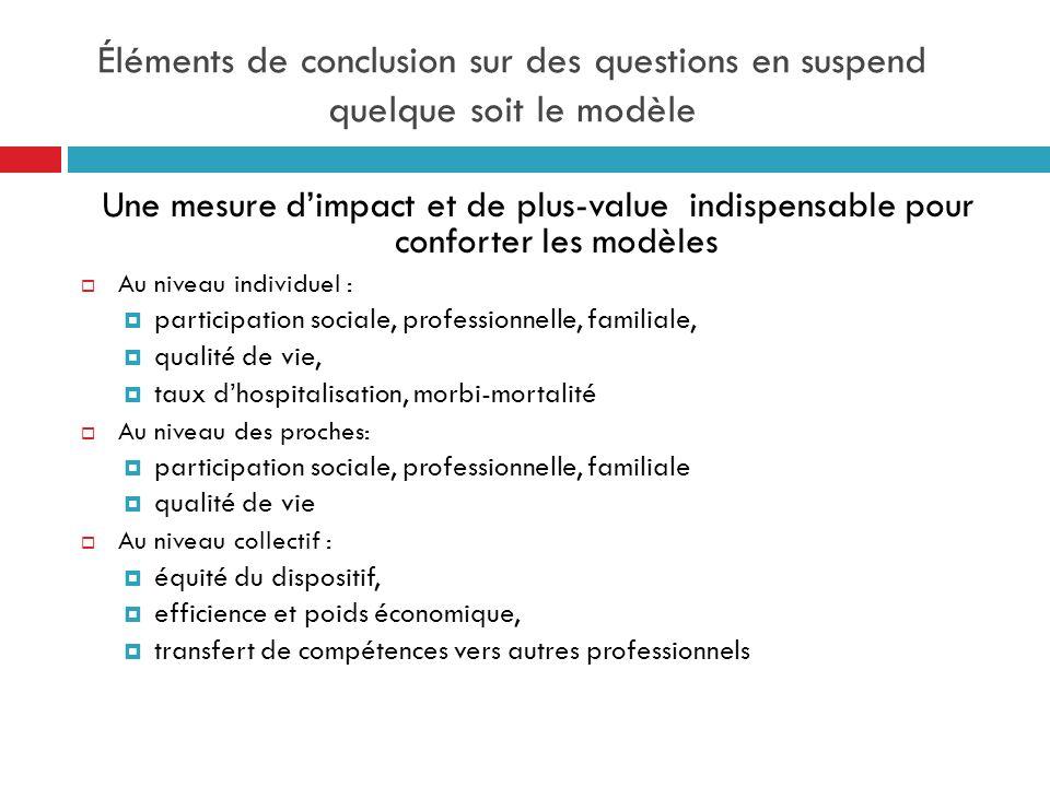 Éléments de conclusion sur des questions en suspend quelque soit le modèle Une mesure dimpact et de plus-value indispensable pour conforter les modèle