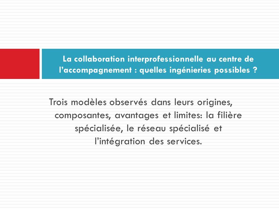 Trois modèles observés dans leurs origines, composantes, avantages et limites: la filière spécialisée, le réseau spécialisé et lintégration des servic