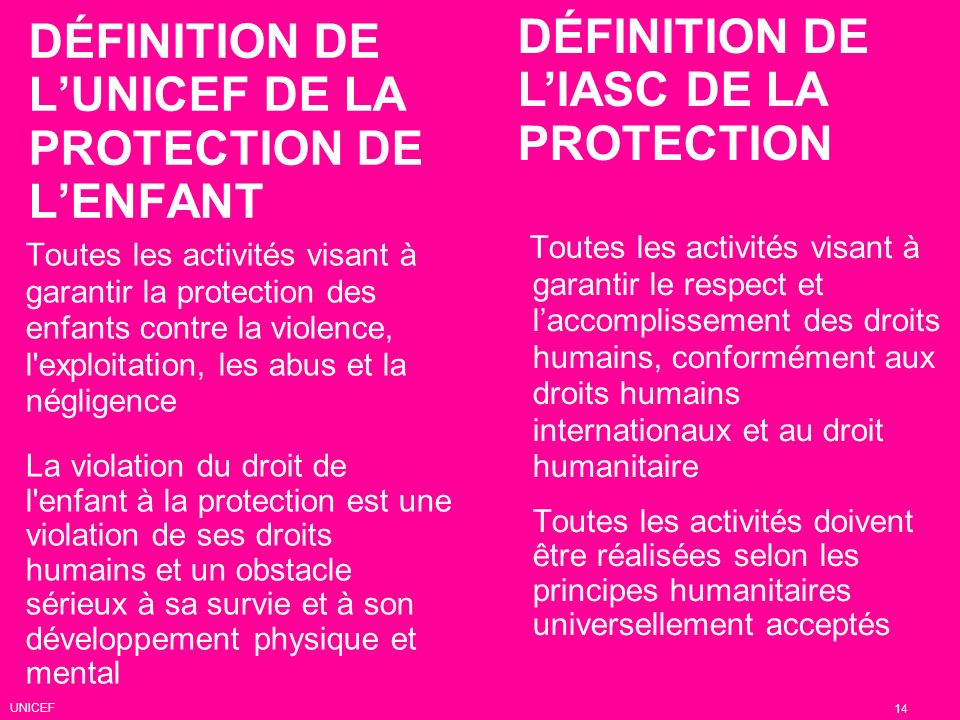 DÉFINITION DE LUNICEF DE LA PROTECTION DE LENFANT Toutes les activités visant à garantir la protection des enfants contre la violence, l'exploitation,