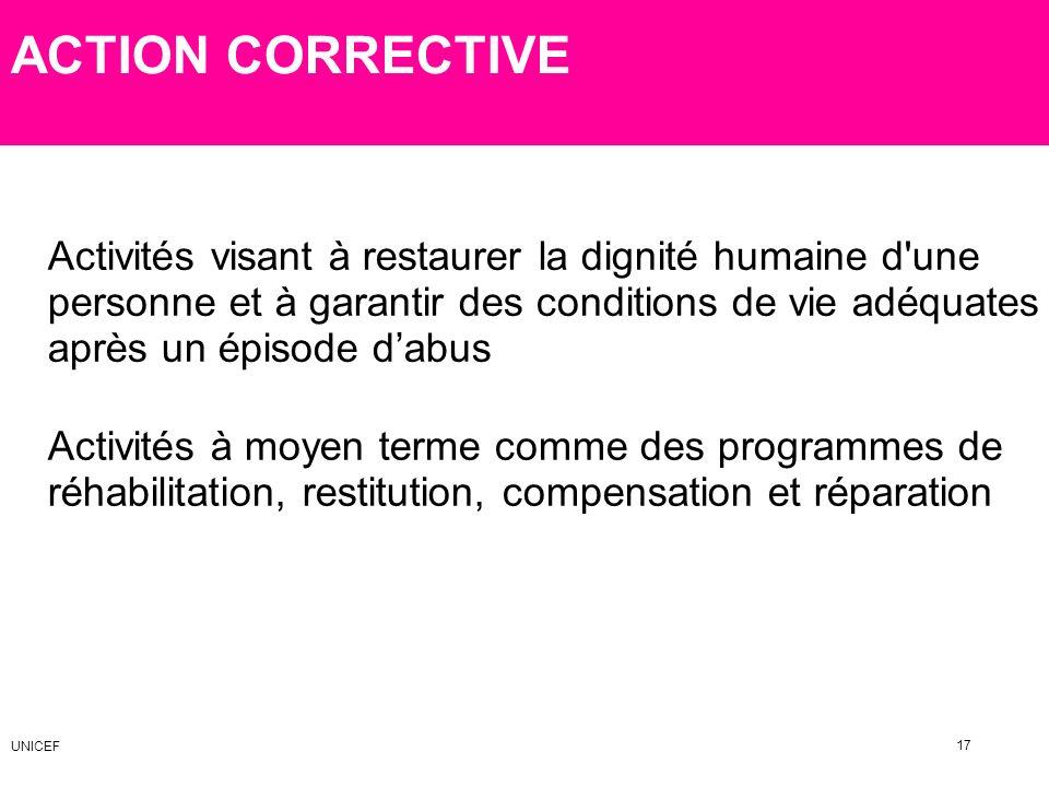 ACTION CORRECTIVE Activités à moyen terme comme des programmes de réhabilitation, restitution, compensation et réparation Activités visant à restaurer