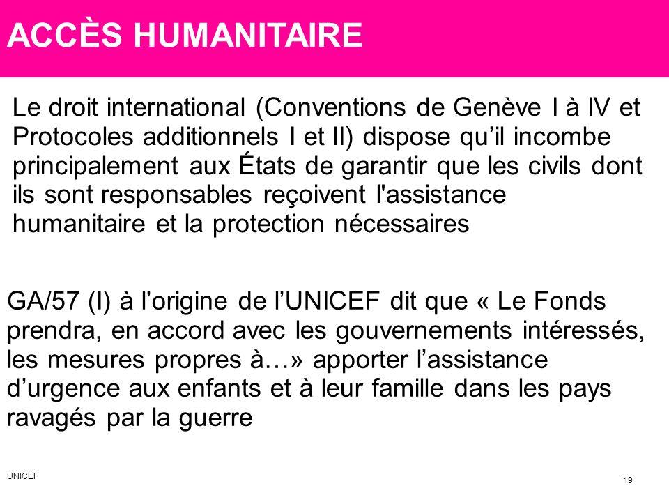 ACCÈS HUMANITAIRE Le droit international (Conventions de Genève I à IV et Protocoles additionnels I et II) dispose quil incombe principalement aux Éta