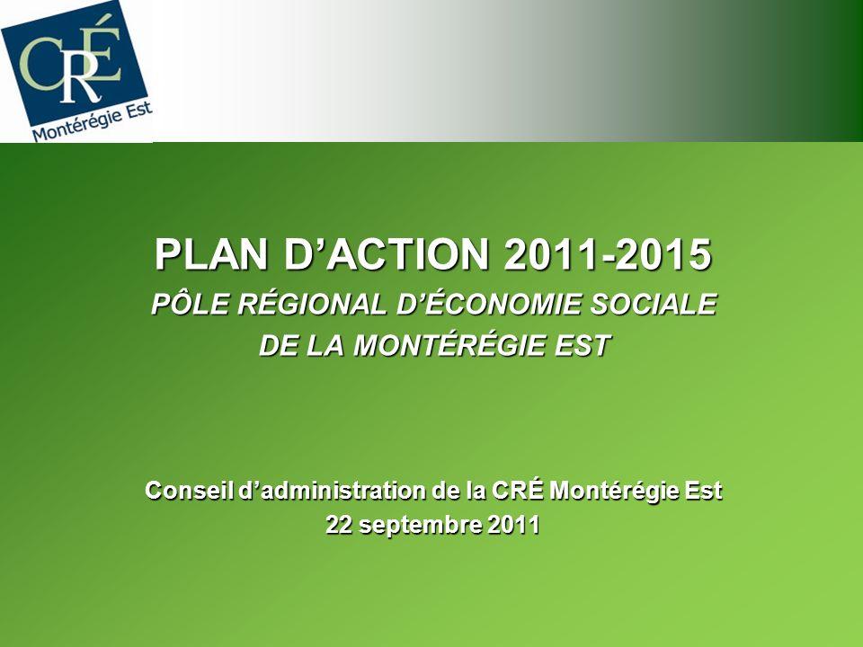 PLAN DACTION 2011-2015 PÔLE RÉGIONAL DÉCONOMIE SOCIALE DE LA MONTÉRÉGIE EST Conseil dadministration de la CRÉ Montérégie Est 22 septembre 2011