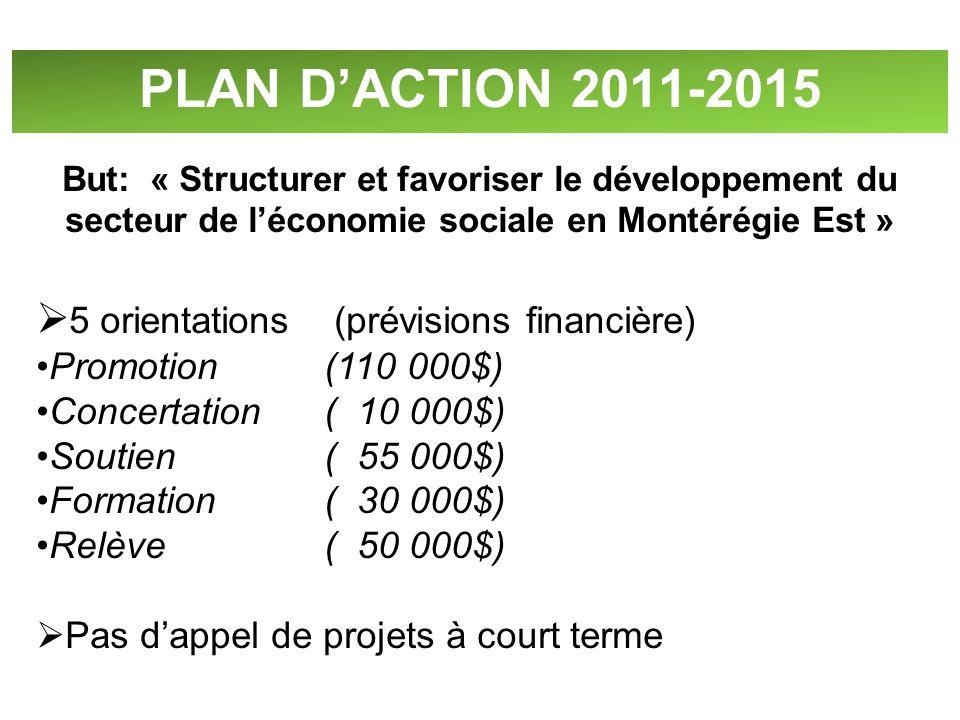 PLAN DACTION 2011-2015 But: « Structurer et favoriser le développement du secteur de léconomie sociale en Montérégie Est » 5 orientations (prévisions
