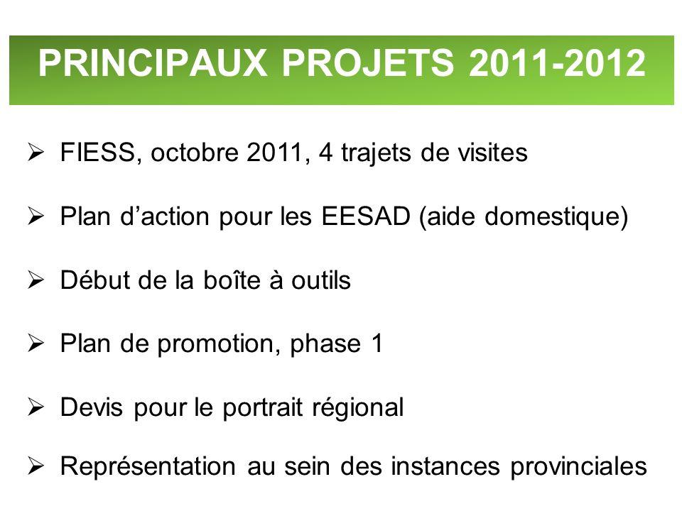 PRINCIPAUX PROJETS 2011-2012 FIESS, octobre 2011, 4 trajets de visites Plan daction pour les EESAD (aide domestique) Début de la boîte à outils Plan d