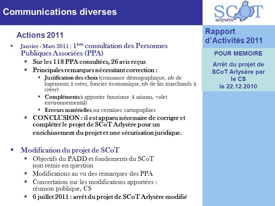 Communications diverses Janvier - Mars 2011 : 1 ère consultation des Personnes Publiques Associées (PPA) Sur les 118 PPA consultées, 26 avis reçus Pri