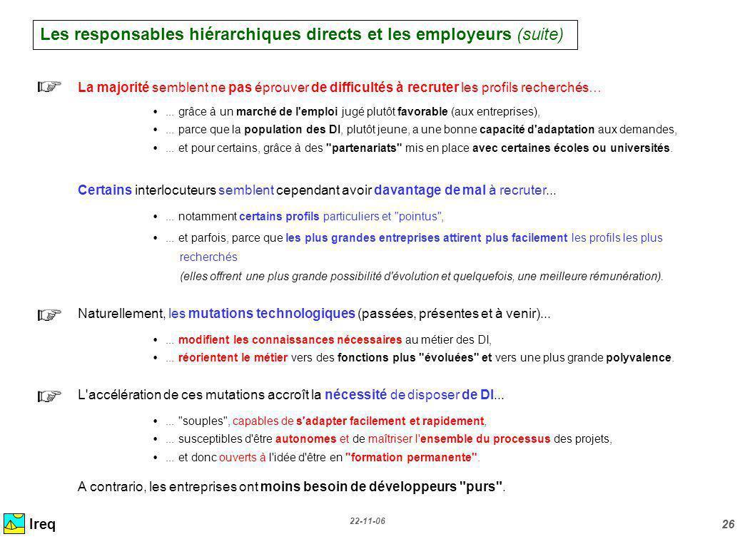 22-11-06 26 Ireq La majorité semblent ne pas éprouver de difficultés à recruter les profils recherchés…... grâce à un marché de l'emploi jugé plutôt f