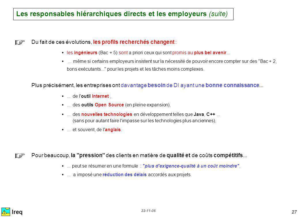 22-11-06 27 Ireq Du fait de ces évolutions, les profils recherchés changent : les ingénieurs (Bac + 5) sont a priori ceux qui sont promis au plus bel