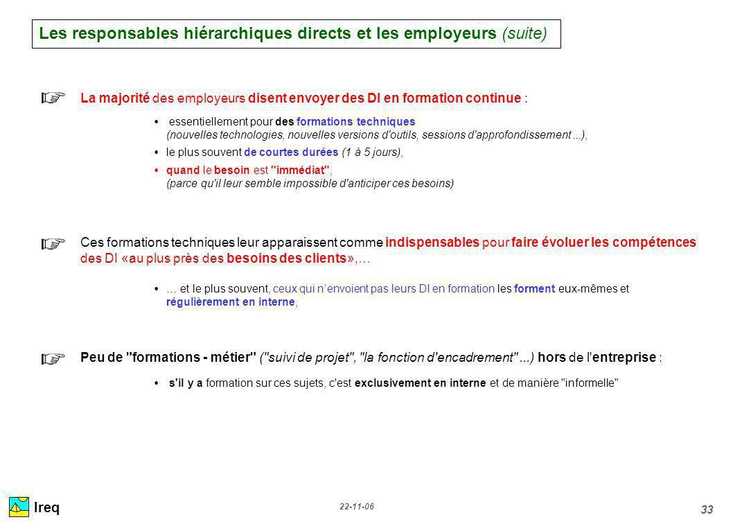 22-11-06 33 Ireq La majorité des employeurs disent envoyer des DI en formation continue : essentiellement pour des formations techniques (nouvelles te
