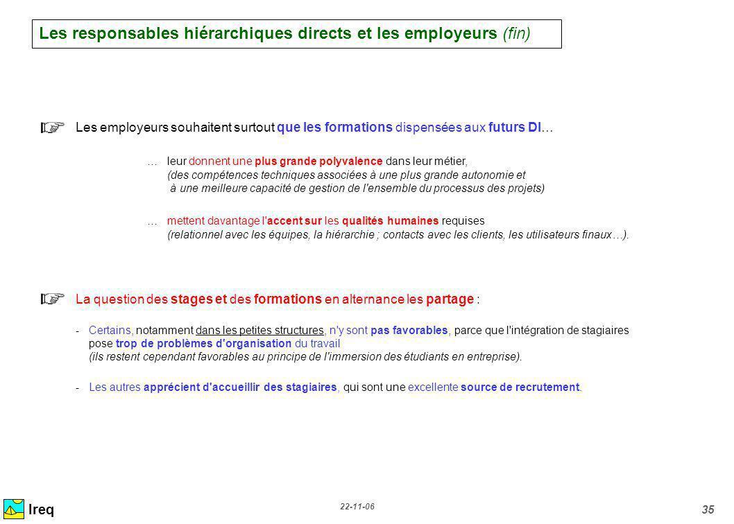 22-11-06 35 Ireq Les employeurs souhaitent surtout que les formations dispensées aux futurs DI… …leur donnent une plus grande polyvalence dans leur mé