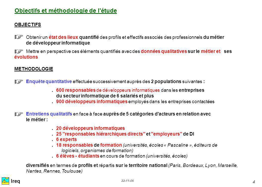 22-11-06 4 Ireq Objectifs et méthodologie de l'étude OBJECTIFS Obtenir un état des lieux quantifié des profils et effectifs associés des professionnel