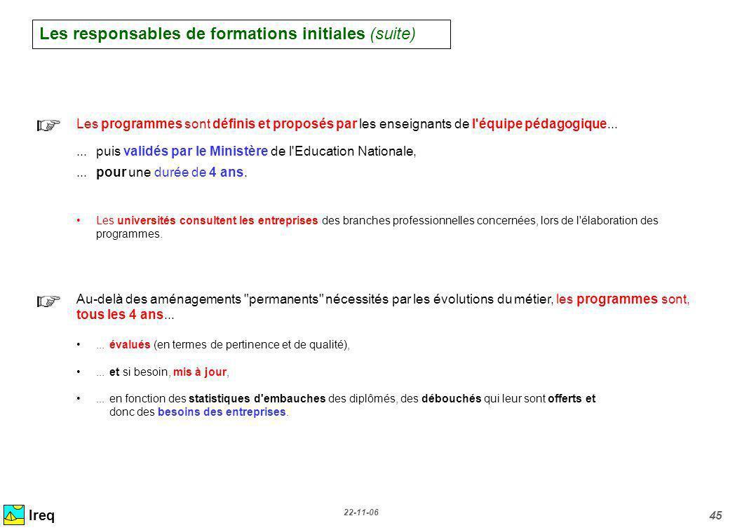 22-11-06 45 Ireq Les programmes sont définis et proposés par les enseignants de l'équipe pédagogique......puis validés par le Ministère de l'Education