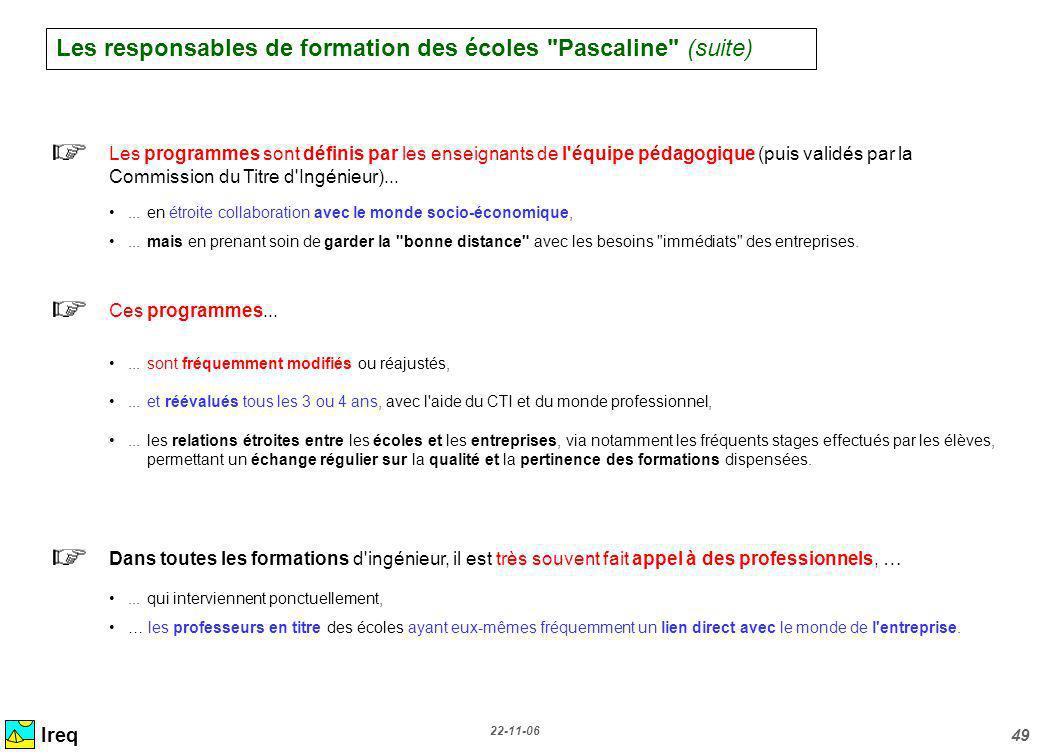 22-11-06 49 Ireq Les programmes sont définis par les enseignants de l'équipe pédagogique (puis validés par la Commission du Titre d'Ingénieur)...... e