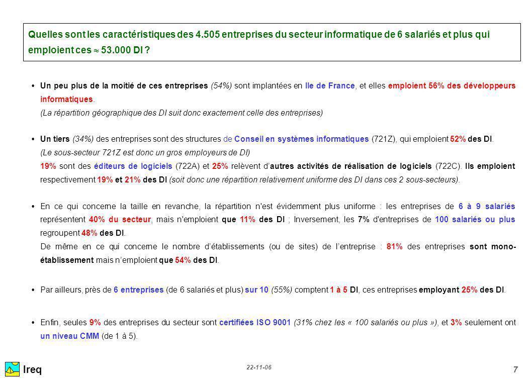 22-11-06 7 Quelles sont les caractéristiques des 4.505 entreprises du secteur informatique de 6 salariés et plus qui emploient ces 53.000 DI ? Un peu