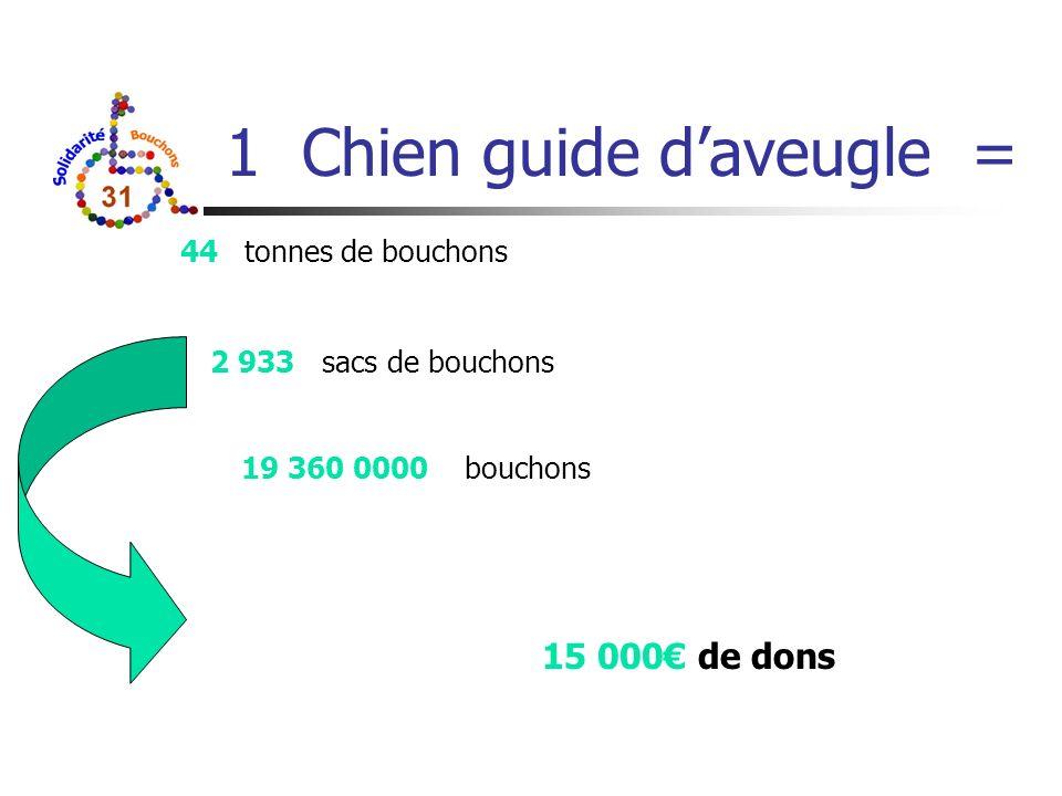 1 Chien guide daveugle = 44 tonnes de bouchons 2 933 sacs de bouchons 19 360 0000 bouchons 15 000 de dons