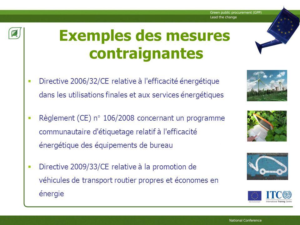 Exemples des mesures contraignantes Directive 2006/32/CE relative à l efficacité énergétique dans les utilisations finales et aux services énergétiques Règlement (CE) n° 106/2008 concernant un programme communautaire d étiquetage relatif à l efficacité énergétique des équipements de bureau Directive 2009/33/CE relative à la promotion de véhicules de transport routier propres et économes en énergie