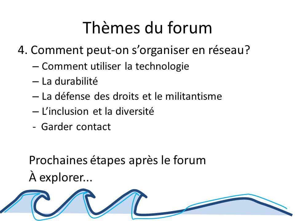 Thèmes du forum 4. Comment peut-on sorganiser en réseau.