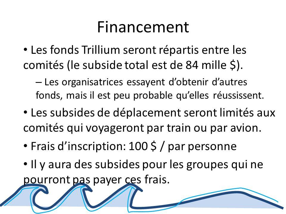 Financement Les fonds Trillium seront répartis entre les comités (le subside total est de 84 mille $).
