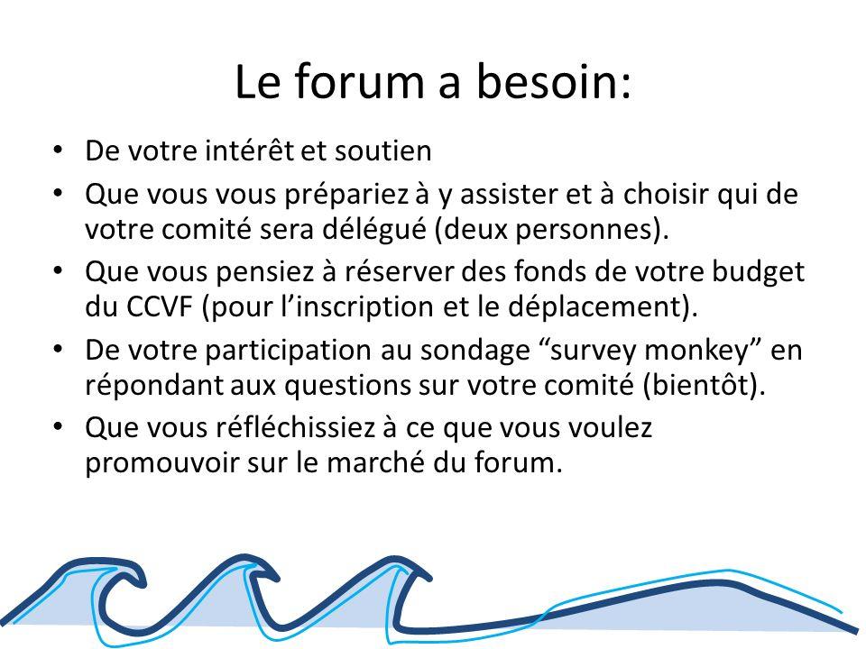 Le forum a besoin: De votre intérêt et soutien Que vous vous prépariez à y assister et à choisir qui de votre comité sera délégué (deux personnes).