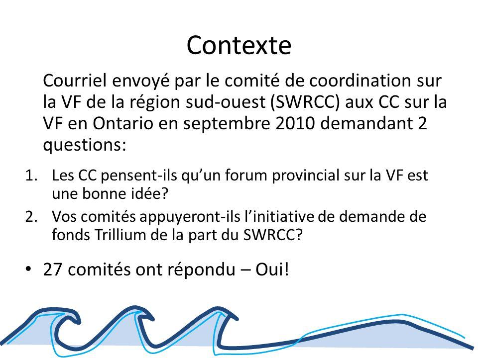 Contexte Courriel envoyé par le comité de coordination sur la VF de la région sud-ouest (SWRCC) aux CC sur la VF en Ontario en septembre 2010 demandant 2 questions: 1.Les CC pensent-ils quun forum provincial sur la VF est une bonne idée.