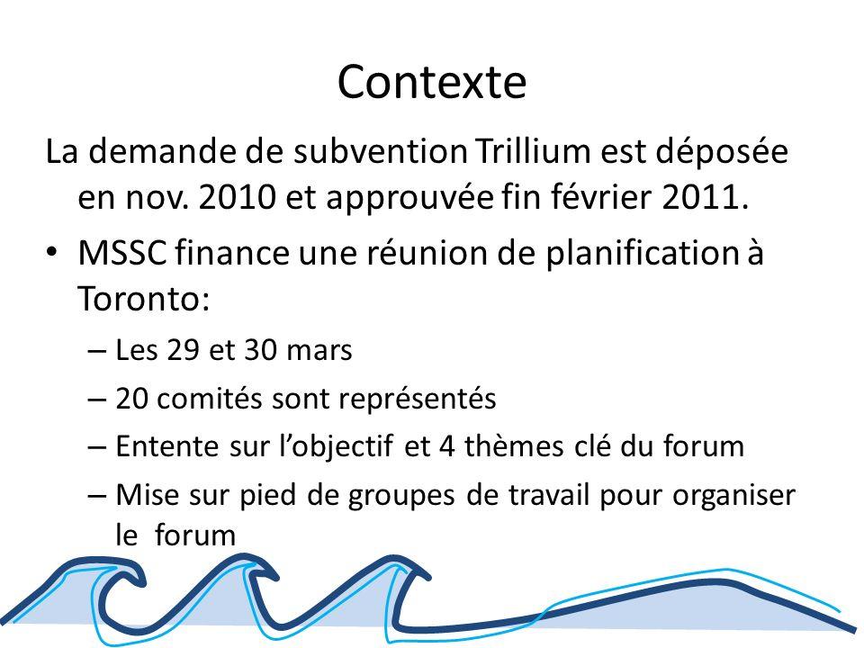 Contexte La demande de subvention Trillium est déposée en nov.