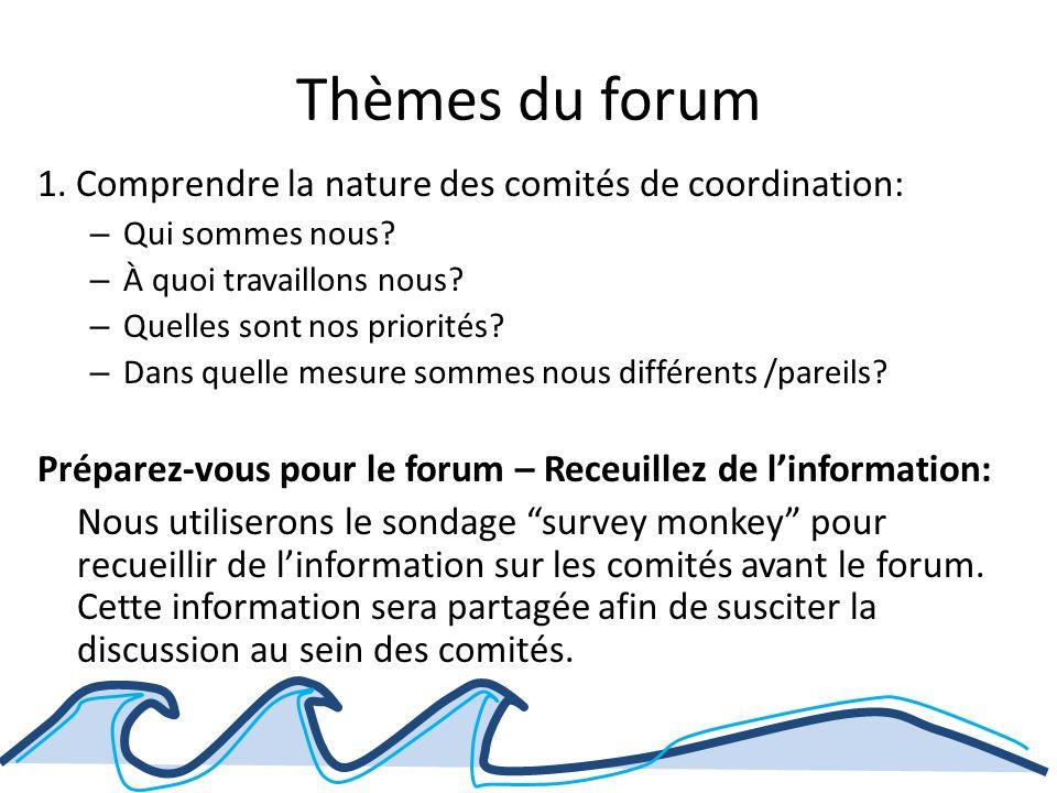 Thèmes du forum 1. Comprendre la nature des comités de coordination: – Qui sommes nous.