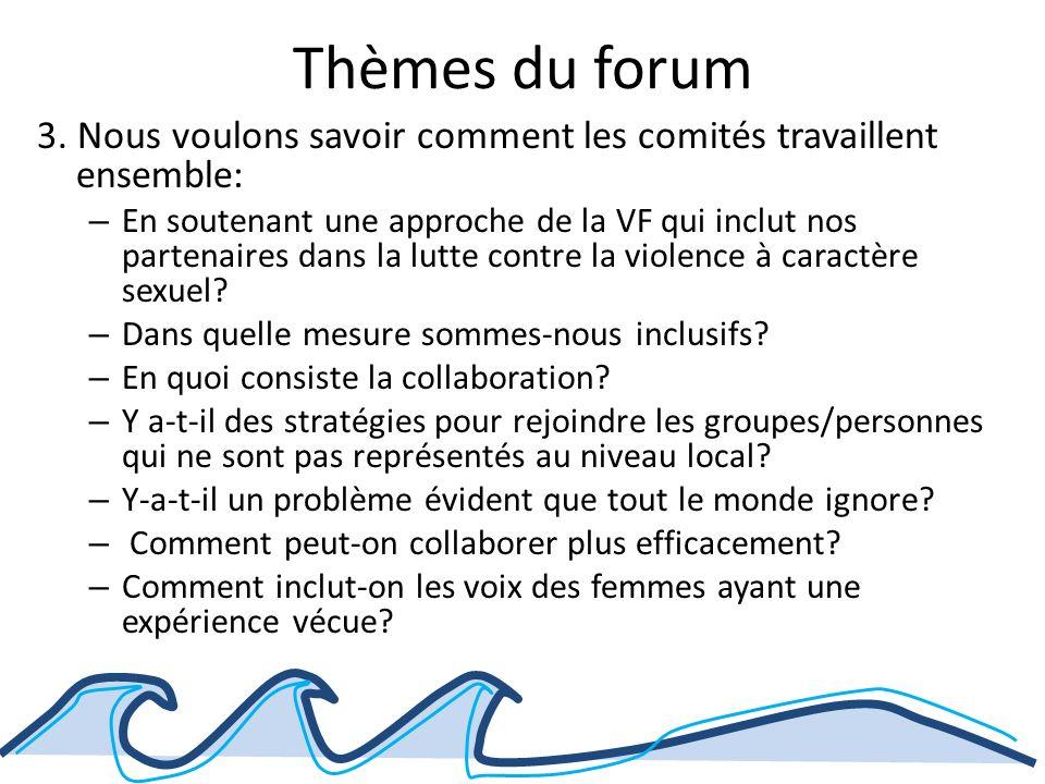 Thèmes du forum Dialogue Le forum fournira des occasions de dialogue et de discussion en petits groupes, dans une ambiance genre café international.