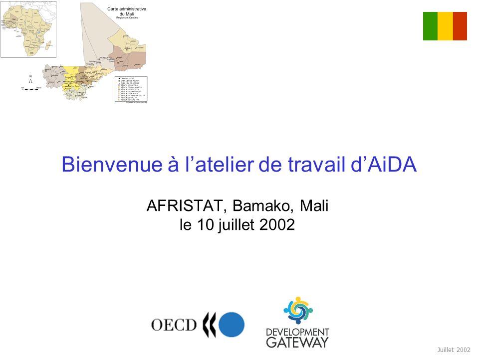 Juillet 2002 Bienvenue à latelier de travail dAiDA AFRISTAT, Bamako, Mali le 10 juillet 2002